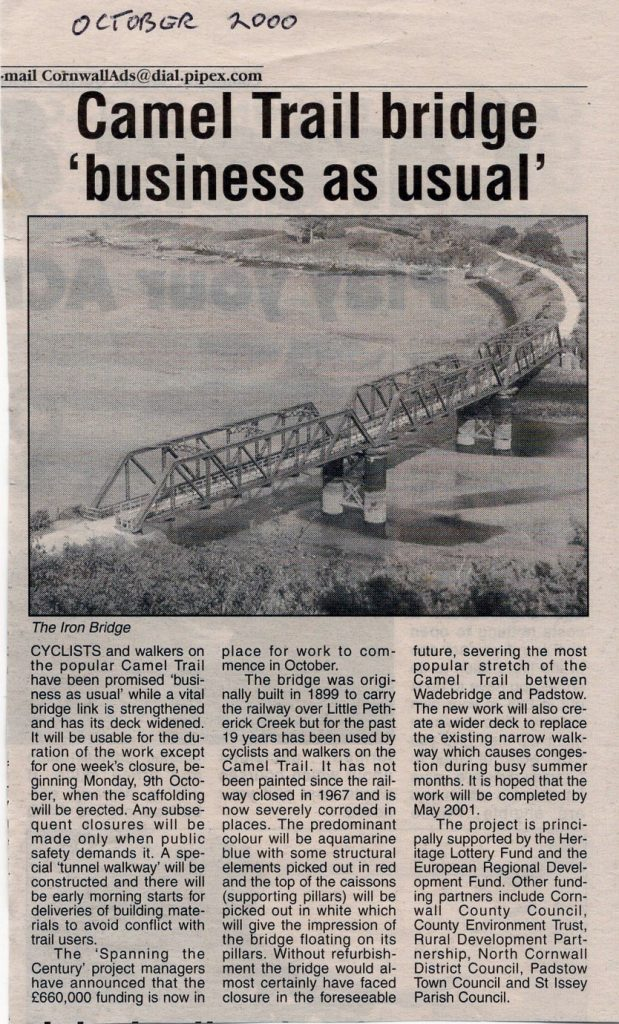 Little Petherick Creek Bridge article from 2000