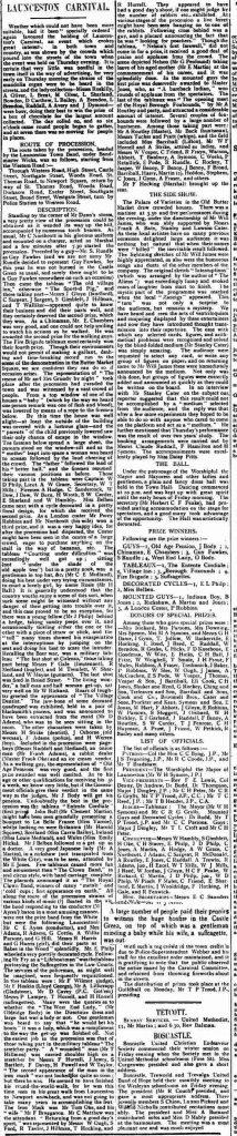 1908 Launceston Carnival report.