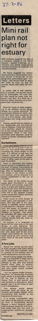 Padstow minature railway article from 1986