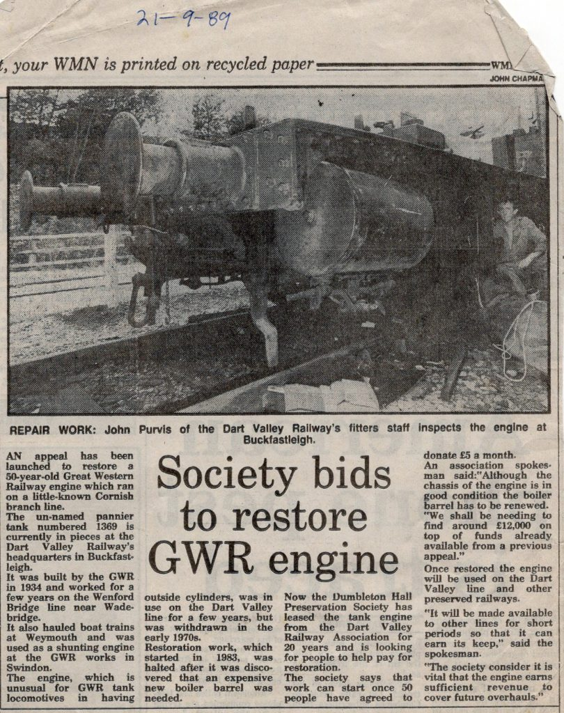 Pannier Tank re-build article in 1989