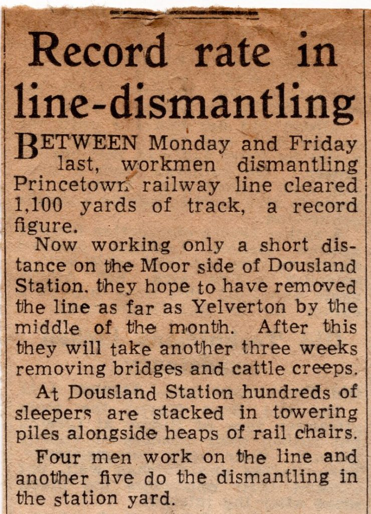 Princetown line dismantling report from 1956