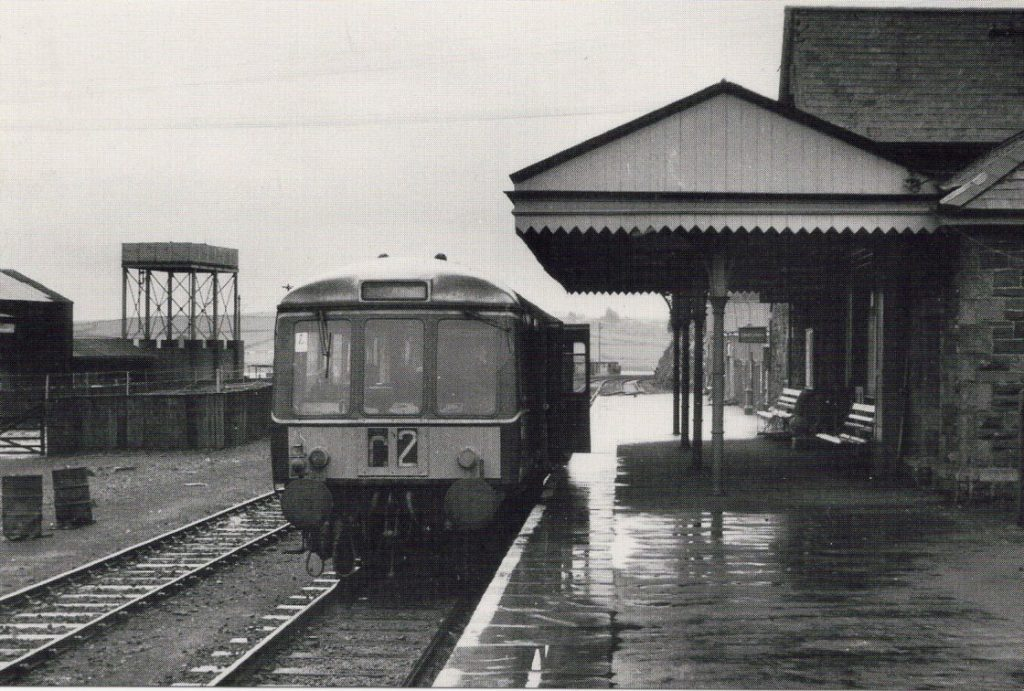 Railcar no. W55014 at Padstow on the last day of operation, January 28, 1967