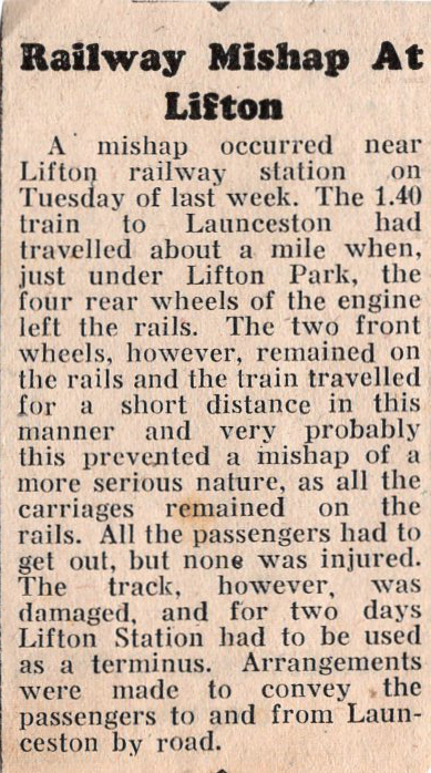 Railway mishap at Lifton