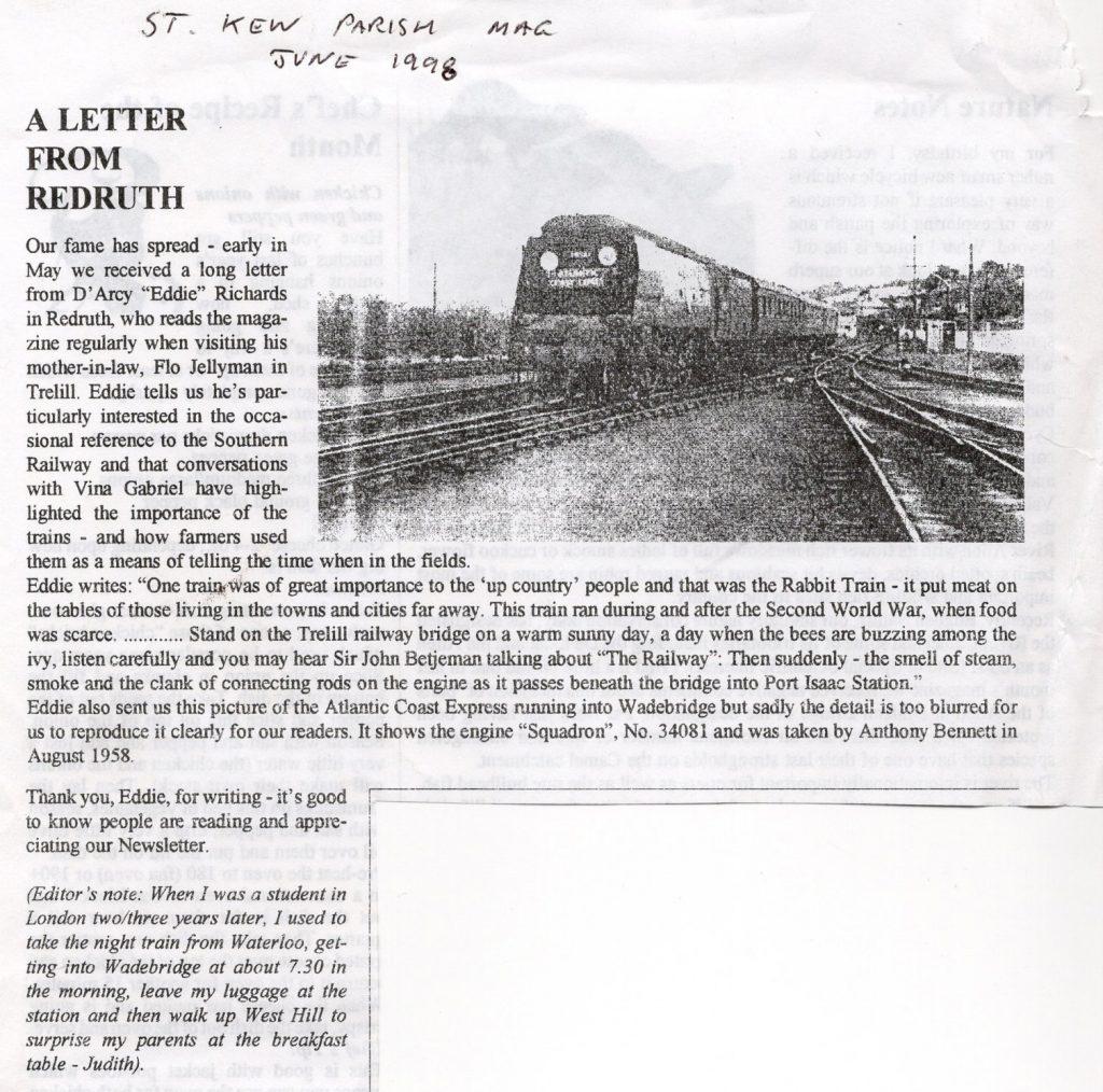 St. Kew Letter 1998