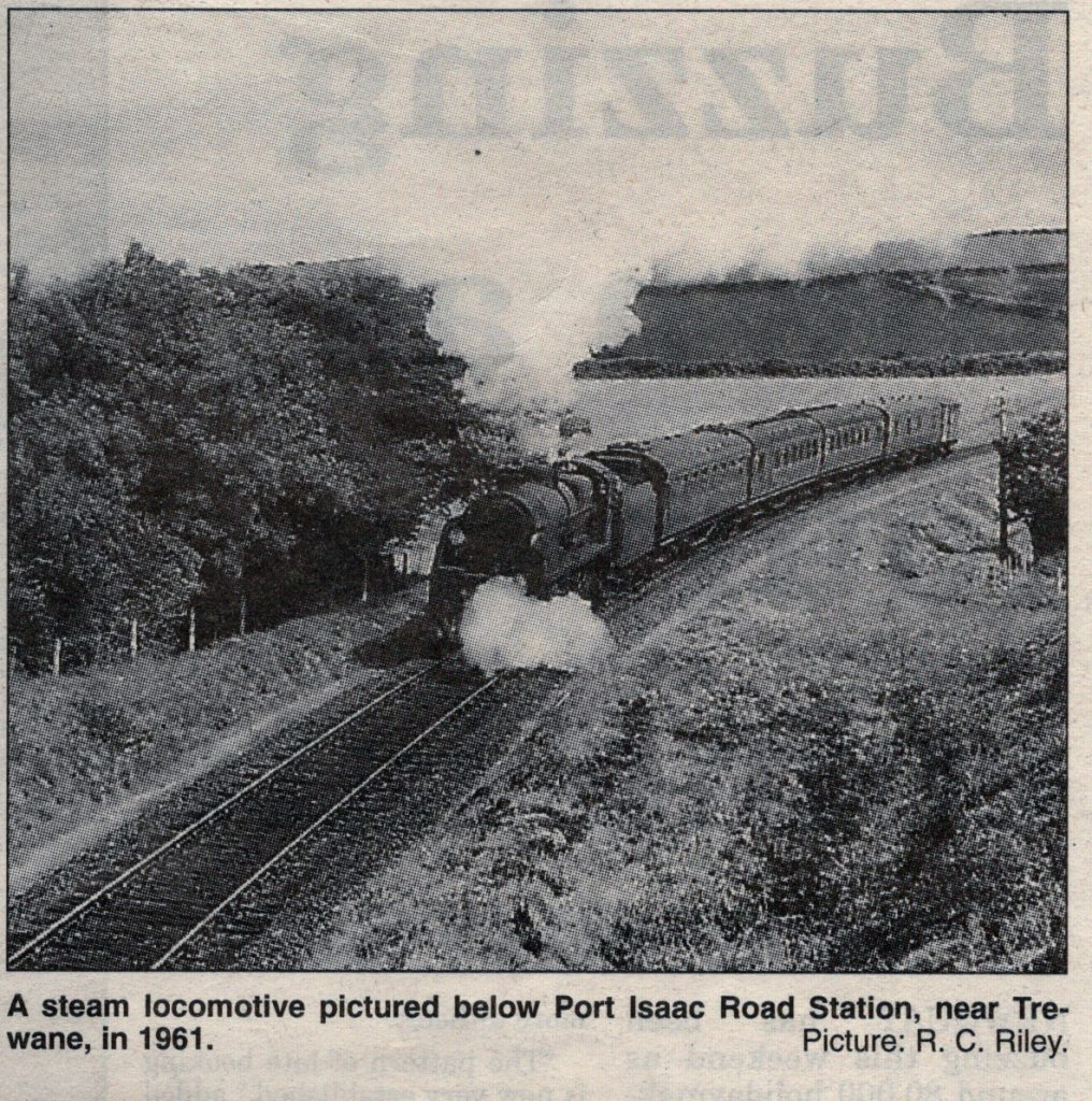 Steam loco below Port Isaac Road Station in 1961