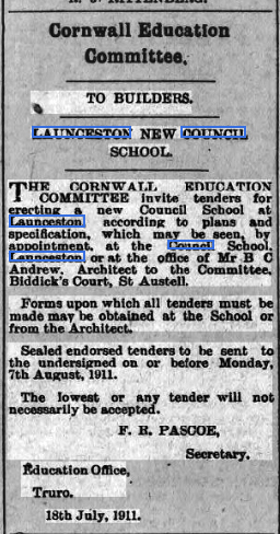 Tenders for the new school at Windmill July 1911