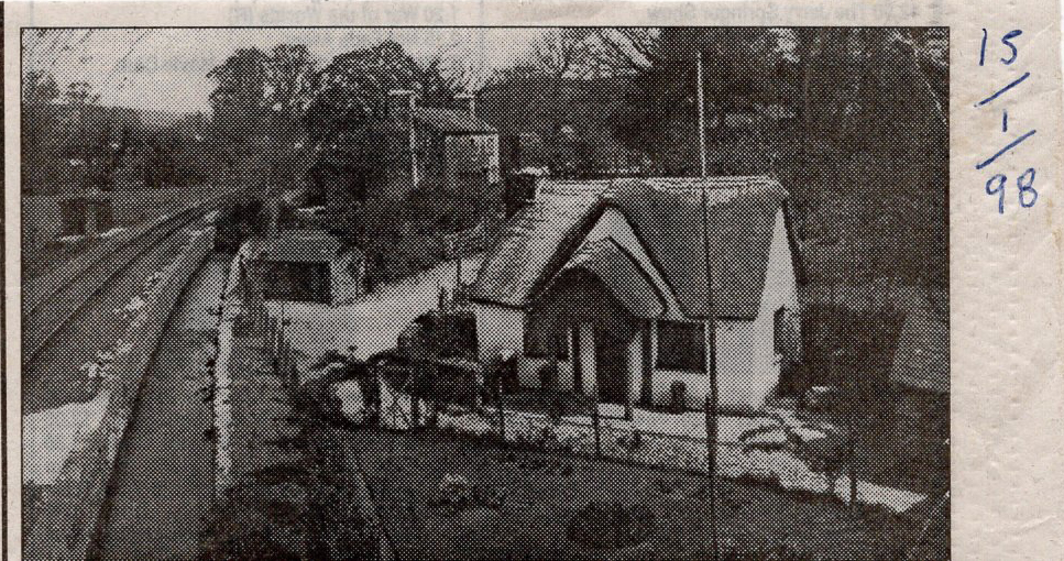 The GWR line running alongside Leat Cottage, Lifton