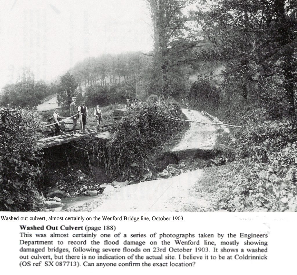 Washed out culvert on the Wenford Line in 1903