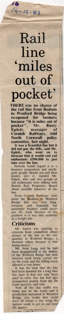 Wenford Line article from 1983