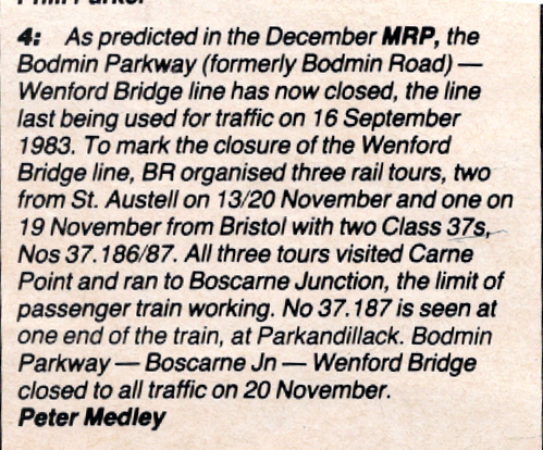 Wenford line closure