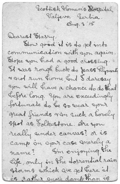 Marion Nicholls letter from Valjevo