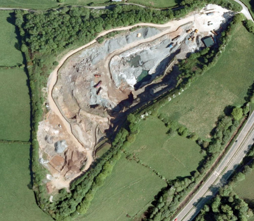 Blackhill Quarry, Polyphant aerial from 2008