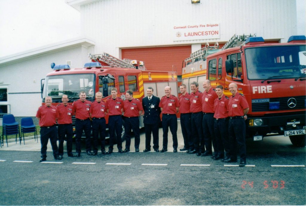 Launceston Fire Service outside the new Station at Scarne.