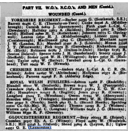 Weekly Casualty List (War Office & Air Ministry ) - Tuesday 24 December 1918