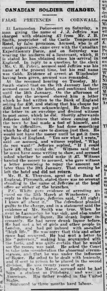West Briton and Cornwall Advertiser - Thursday 18 March 1915