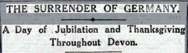 The Surrender of Germany Headline Western Times - Friday 15 November 1918
