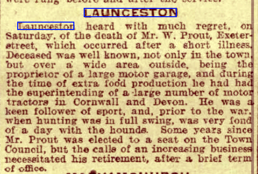 The obituary for W. Prout Western Times - Friday 15 November 1918