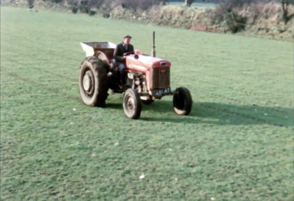Fertilizer spreading on Kempthorne's farm at St Clether 1960