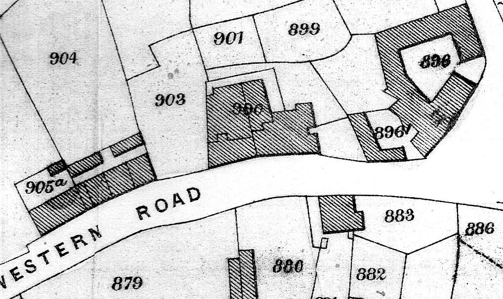 Late 19th century plan of Western Road showing 896 Dunheved Foundry