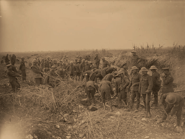 Royal Engineers clearing a road at Arras in April 1917