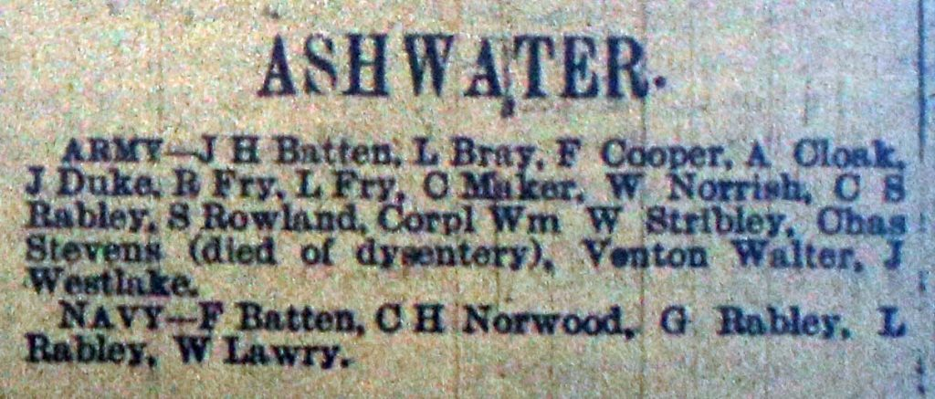 Ashwater Roll of Honour February 1916