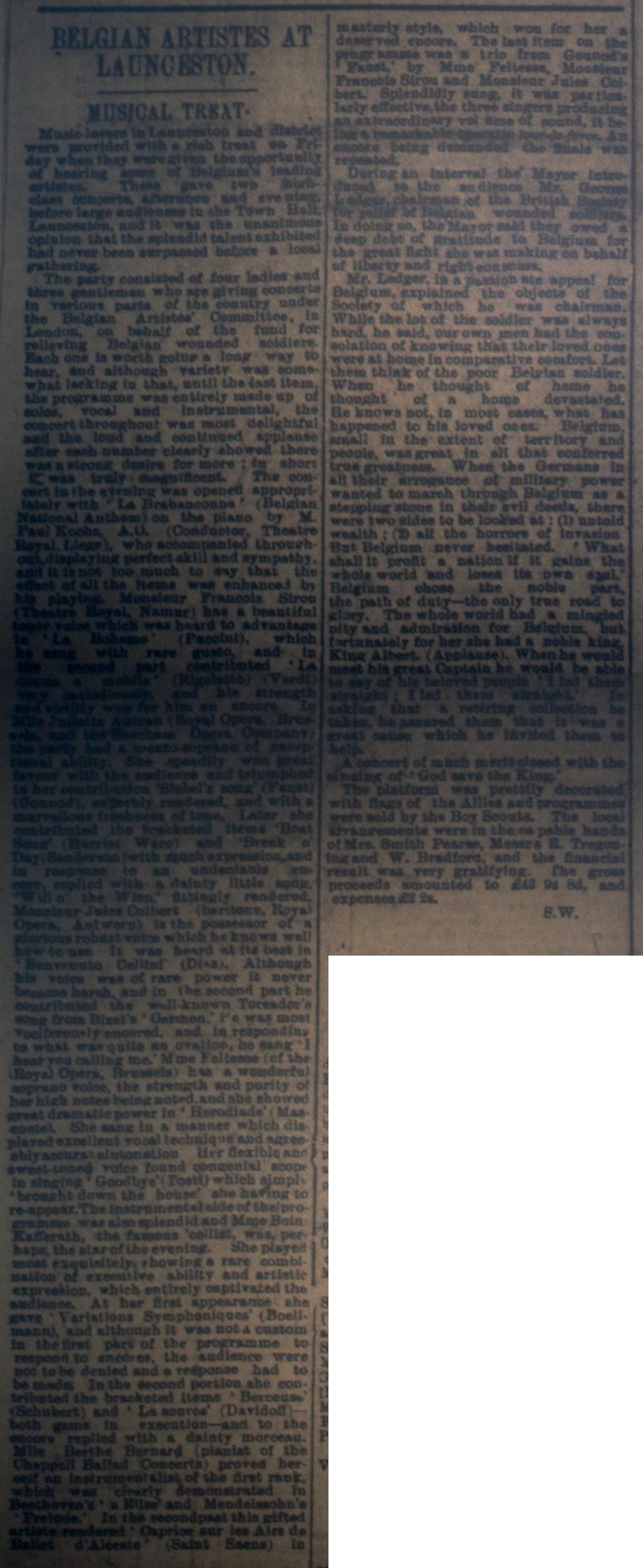 Belgium Artiste September 23rd, 1916
