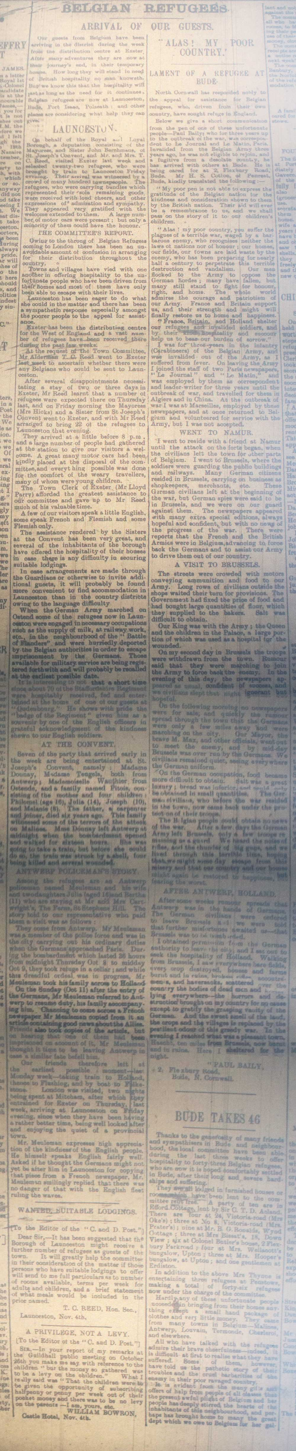 Belgium Refugee article from November 4th 1914