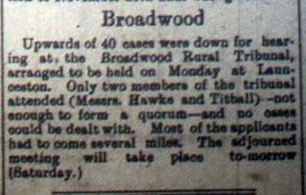 Broadwood Tribunal 21st October, 1916