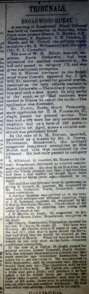 Broadwood Tribunal December 9th, 1916