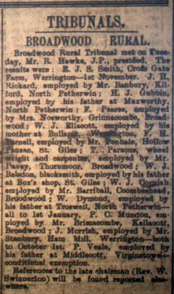 Broadwood Tribunal September 9th, 1916