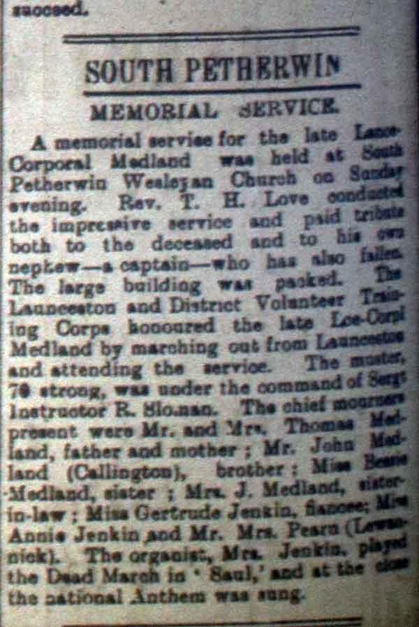 Charles Medland Memorial September 1916