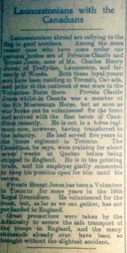 Claude and Ernest Jones November 1914 article