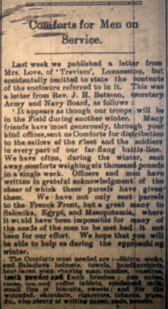Comfort for the Men article from October 27th, 1916