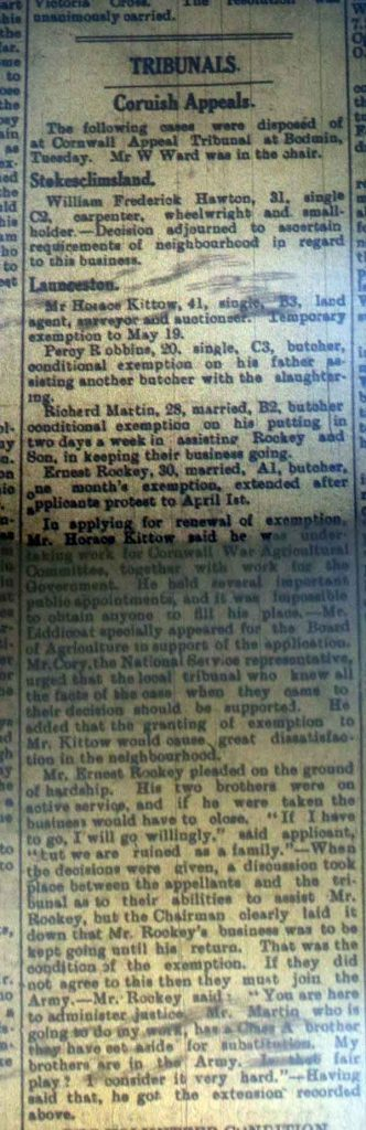 Cornish Appeals Tribunal February 1918