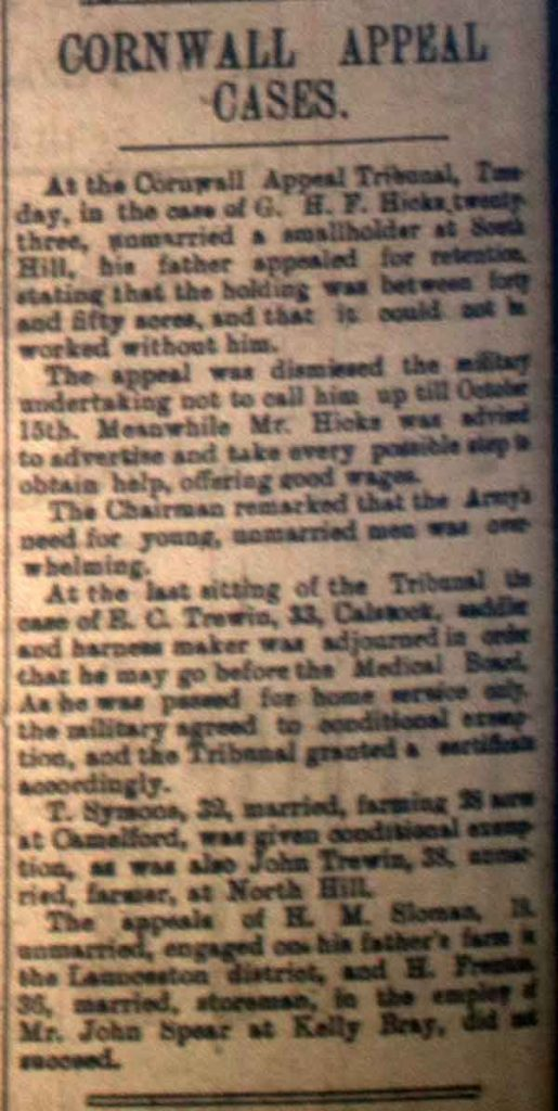 Cornwall Appeals September 1916