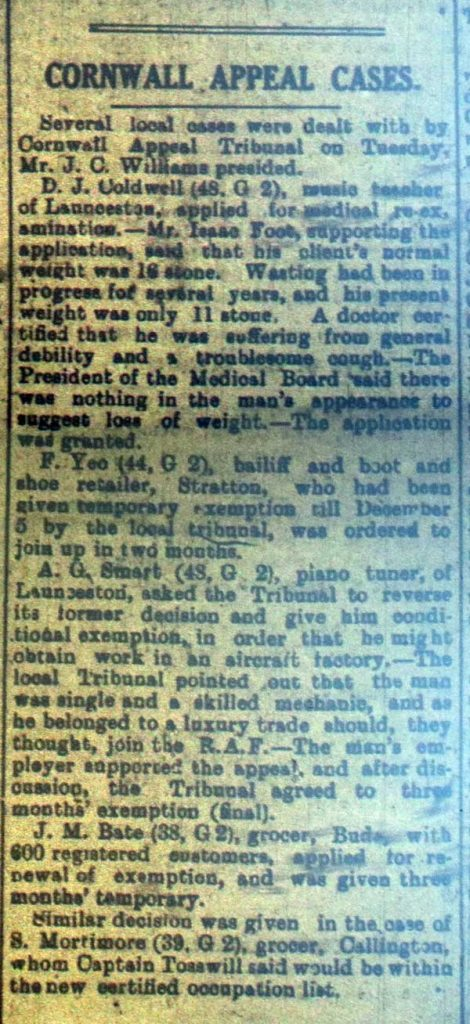 Cornwall Appeals Tribunal, September 14th, 1918