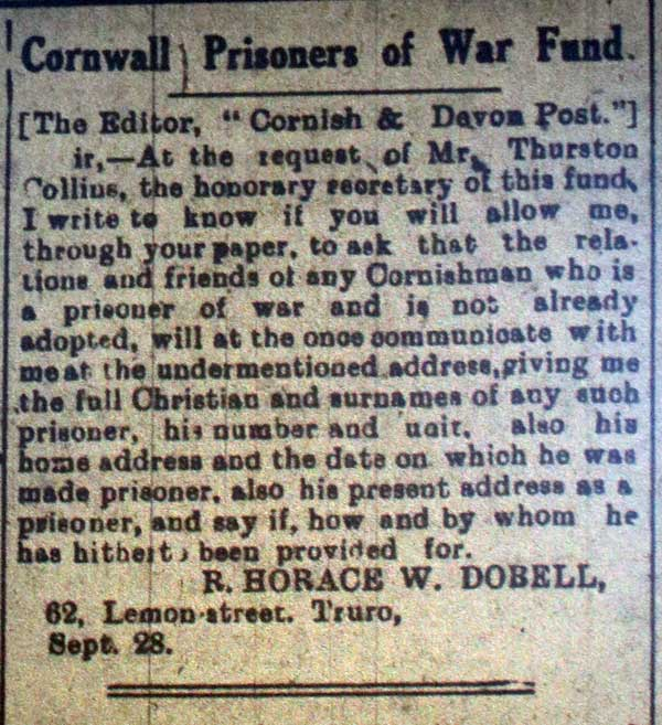 Cornwall Prisoners War Fund, September 28th, 1918.