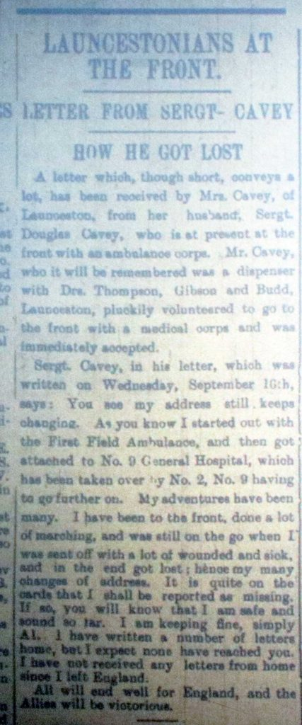 Douglas Cavey letter home September 24th 1914