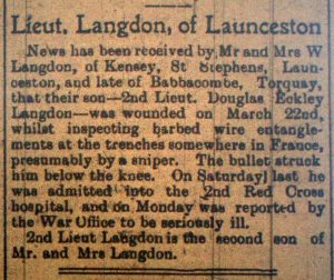 Douglas Langdon Wounding Article April 5th, 1916