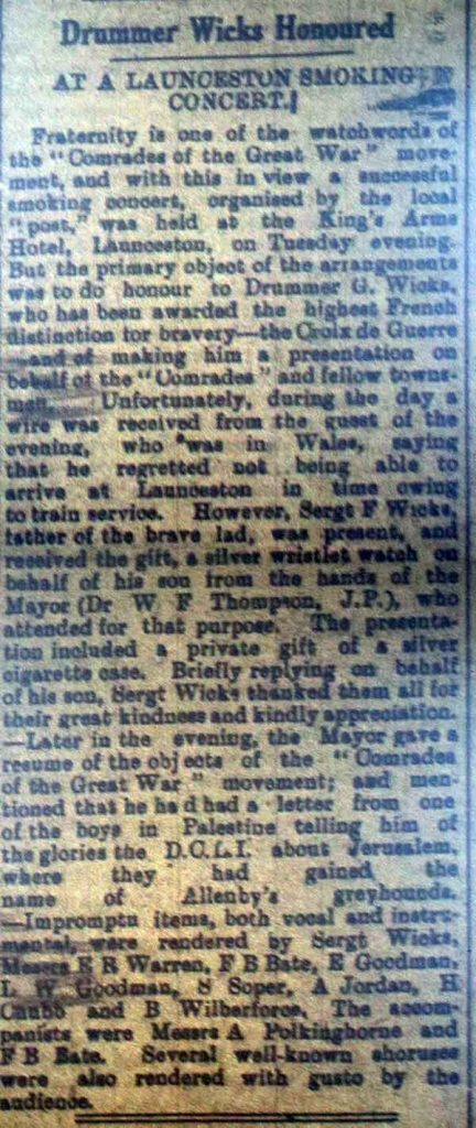 Drummer Wick's Honoured March 9th, 1918