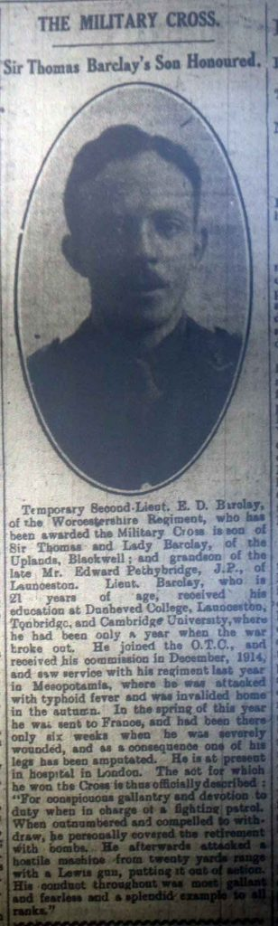 E. D. Barclay Military Cross July 1917