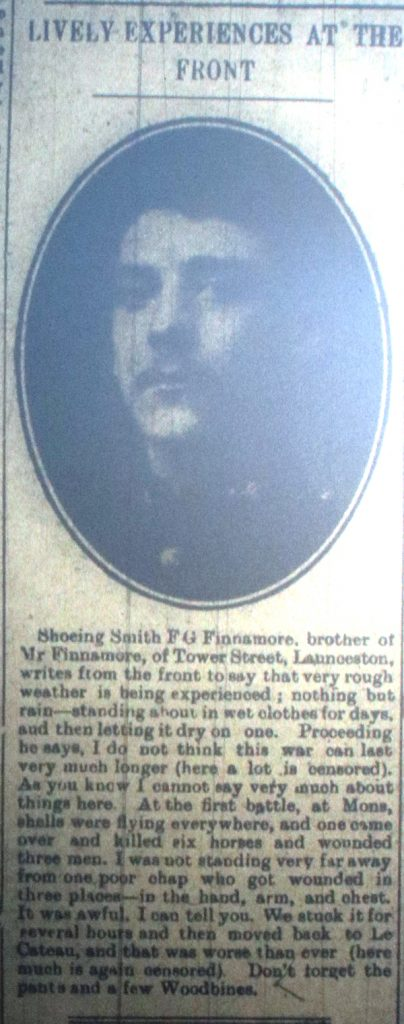 F G Finnemore letter home November 1914