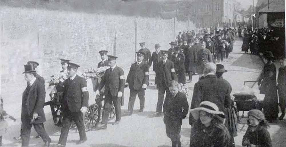 Funeral Cortege with a fallen soldier heading down St. Thomas Road during WW1