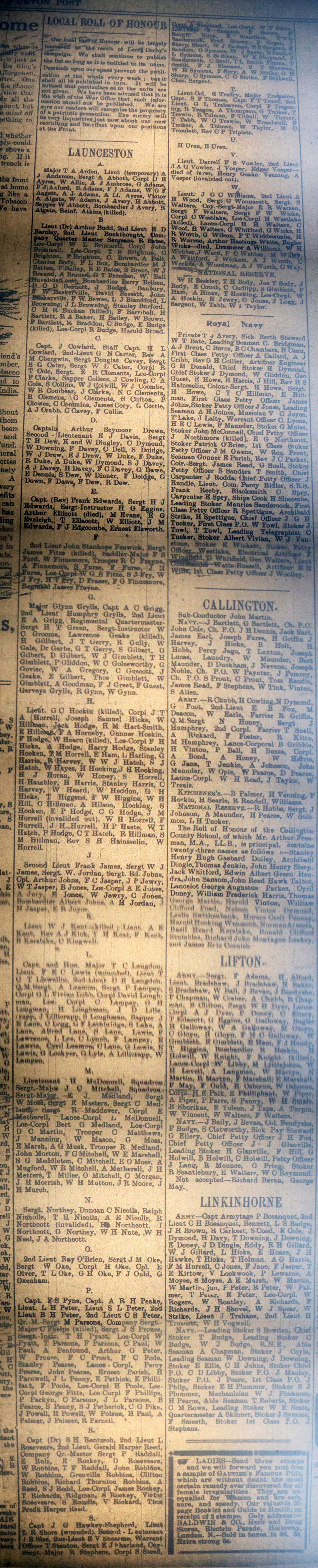 Launceston Roll of Honour January 1st, 1916