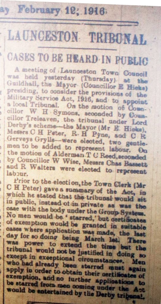 Launceston Tribunal February 12th, 1916