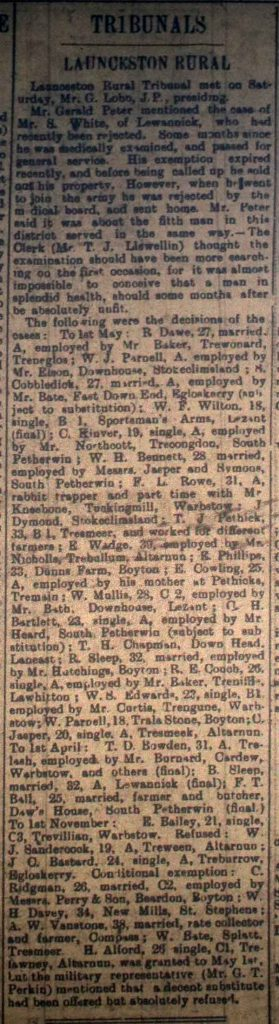 Launceston Tribunal February 3rd, 1917