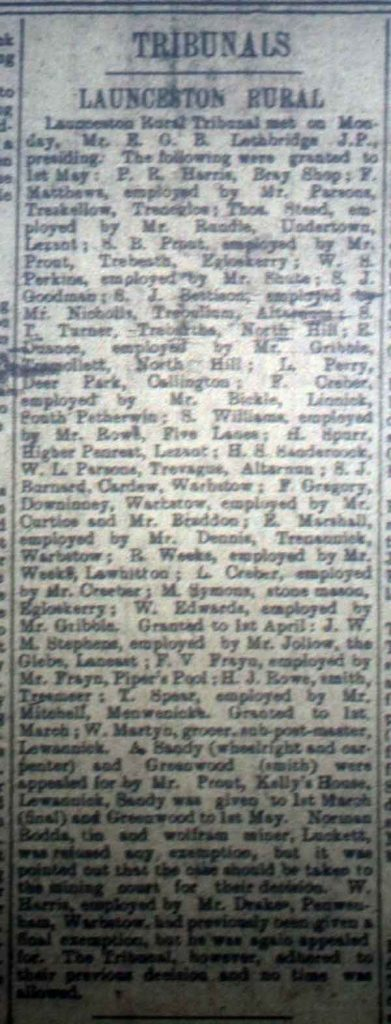 Launceston Tribunal January 13th, 1917