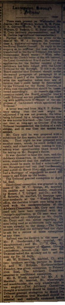 Launceston Tribunal January 20th, 1917