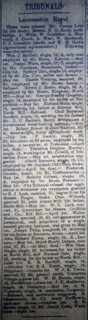 Launceston Tribunal March 10th, 1917