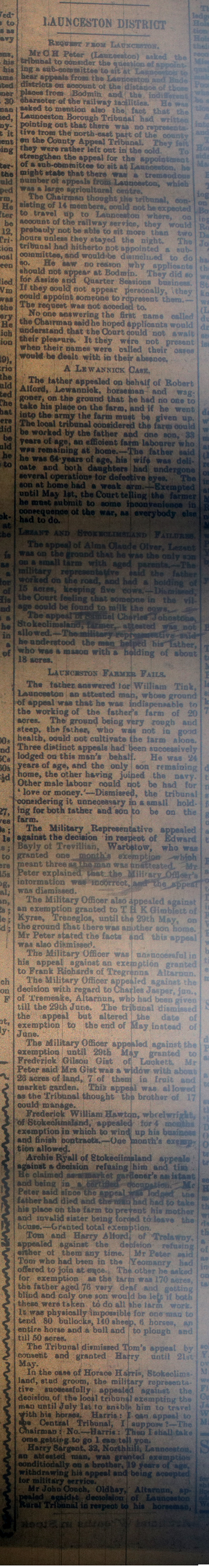 Launceston Tribunal March 25th, 1916